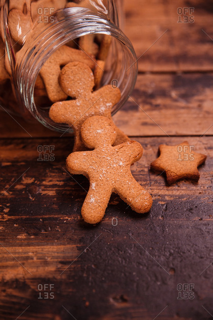christmas gingerbread cookies on wooden table