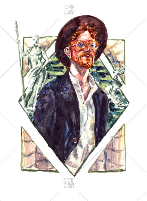 Portrait of man in illustrated collage