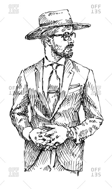 Ink illustration of a dapper man