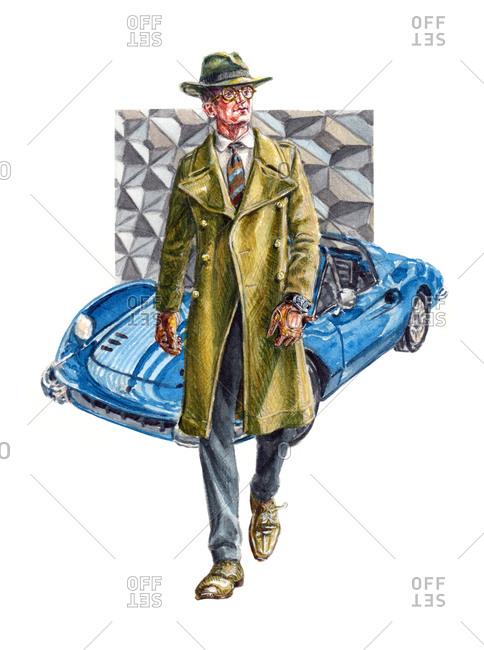 Dapper man walking with luxury car in background
