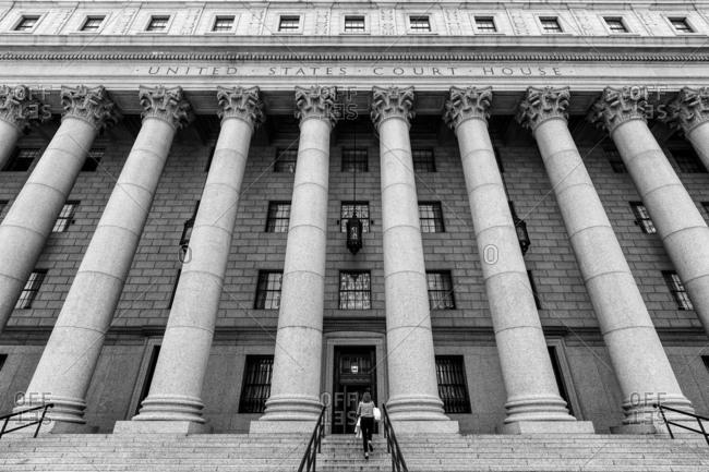 New York, NY, USA - May 23, 2016: The Thurgood Marshall United States Courthouse on Foley Square