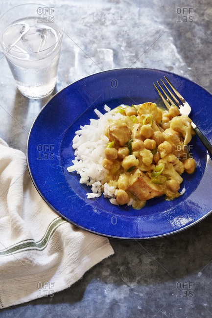 Curried chicken and cauliflower