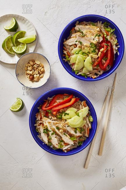 Thai rice noodle bowl