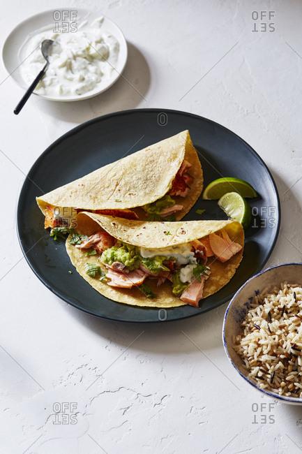 Salmon tacos and guacamole