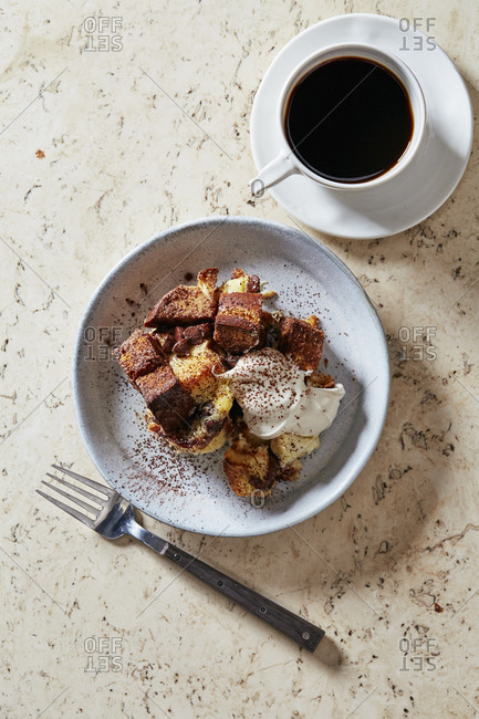 Challah chocolate bread pudding overhead on marble