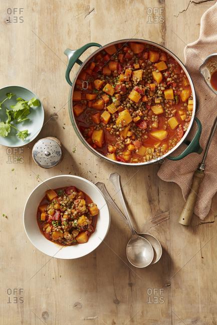 Squash lentil stew