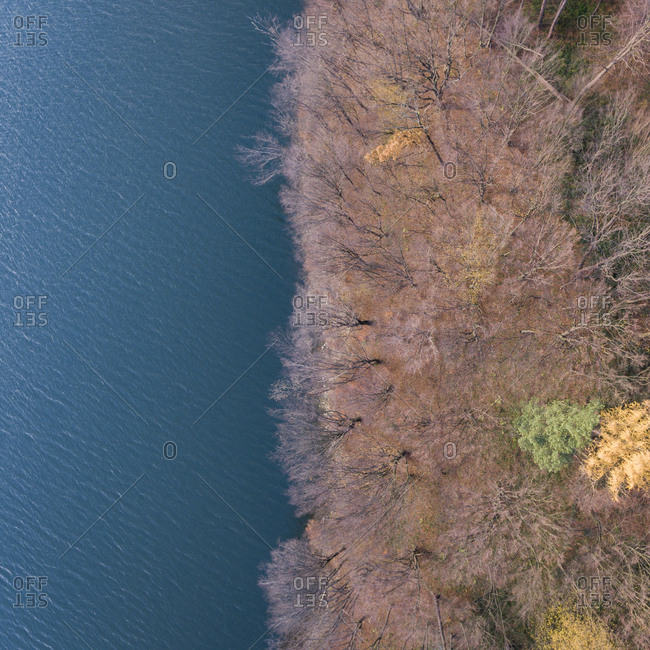Fall landscape with water from above