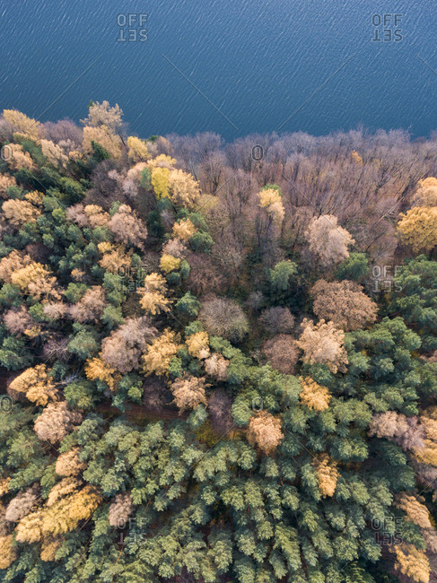 Aerial view of autumn landscape with water