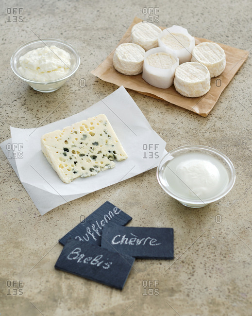 Variety of cheese with labels