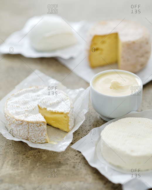 Variety of cheese from France and Italy