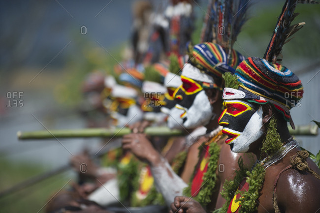 Western Highlands, Papua New Guinea - August 14, 2011: Several tribal performers from the Anglimp District in Waghi Province Western Highlands Papua New Guinea performing at a Sing-sing - Hagen Show