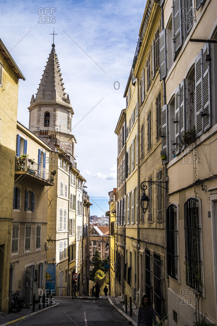 Marseille, France  - March 6, 2017: Le Panier neighborhood