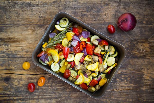 Mediterranean oven vegetables on roasting tray
