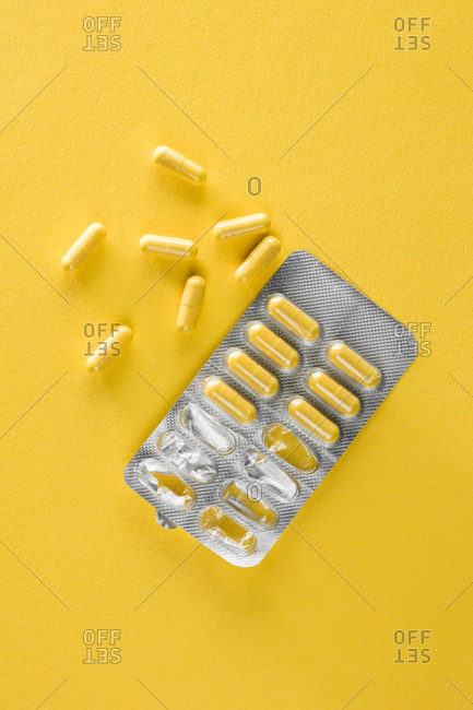 Yellow pills in a blister pack