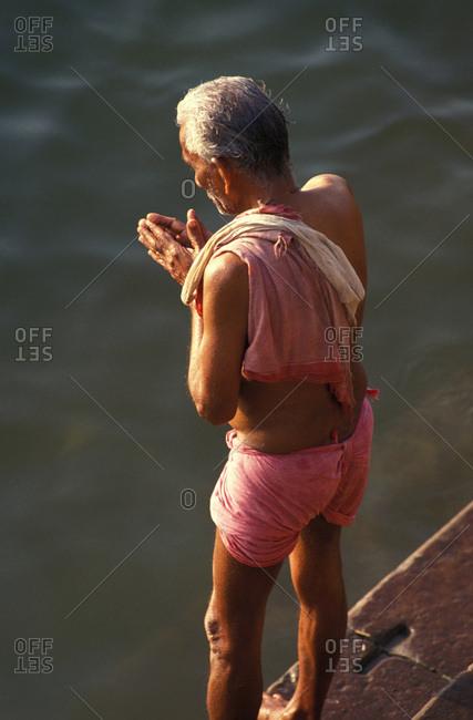 June 9, 2017: Ritual bathing in the Ganges. Benares, India