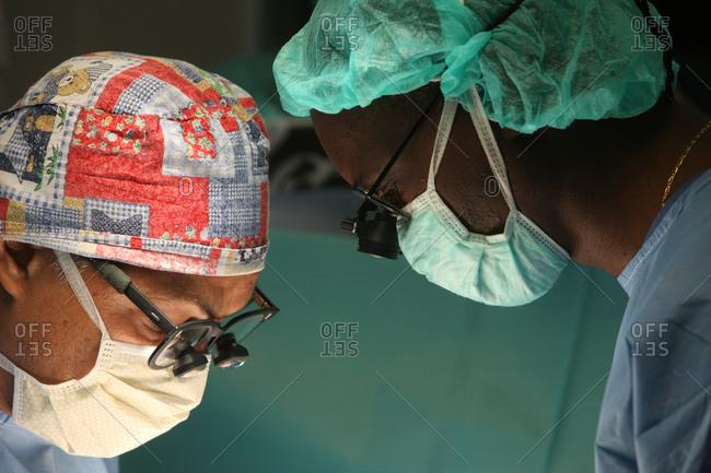 April 5, 2011: Operating theatre in a cardiac surgery ward at Fann hospital (Dakar, Senegal). Dr Gerard Babatasi.