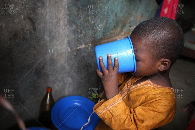 April 1, 2011: Boy drinking water.