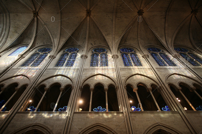 December 2, 2011: Notre-Dame de Paris cathedral nave.