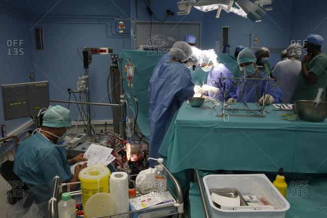 November 6, 2013: Brazzaville Hospital. NGO la Chaine de l'Espoir. Cardiac surgery.