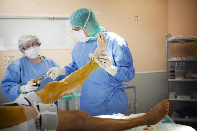 April 24, 2014: Reportage in the orthopedic surgery service in Leman hospital, Thonon, France. Operating theatre.