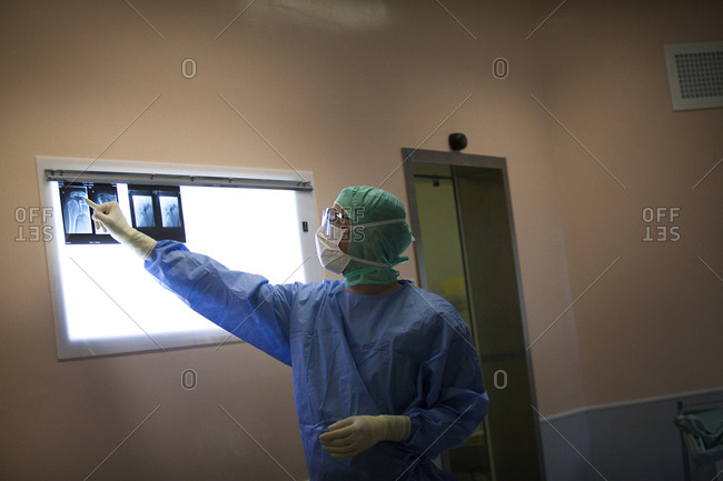 April 25, 2014: Reportage in the orthopedic surgery service in Leman hospital, Thonon, France. Operating theatre.