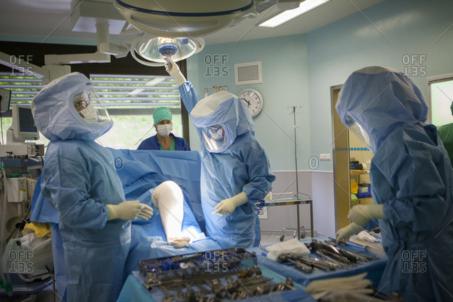 May 7, 2014: Reportage in the orthopedic surgery service in Leman hospital, Thonon, France. Operating theatre.