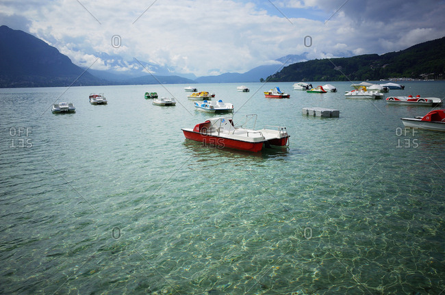 July 13, 2014: Boats on the lake in Annecy, France