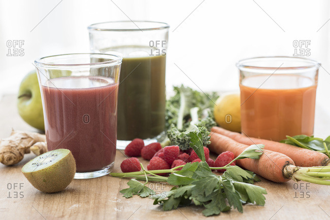 Studio shot of fruit and vegetable juices