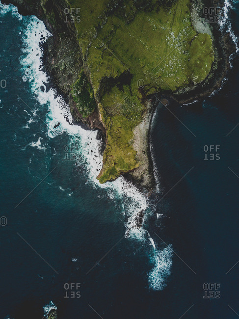 Faroe Islands - October 10, 2017: Drone photo shot above the island.