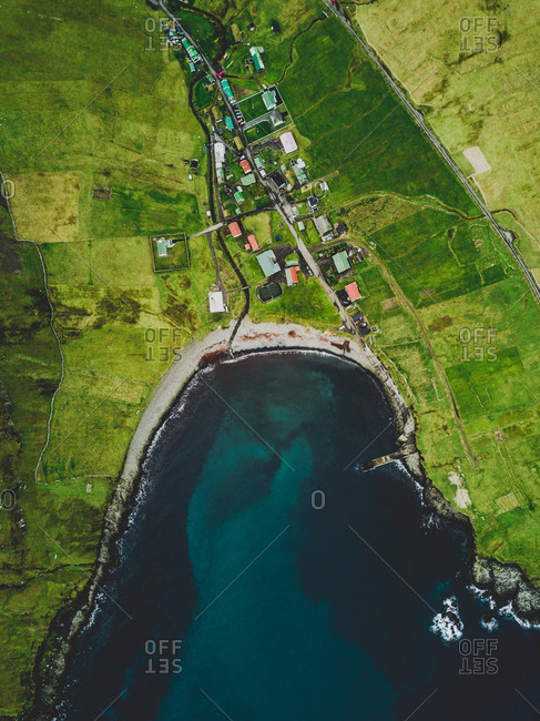 Faroe Islands - October 9, 2017: Drone photo shot above a village.
