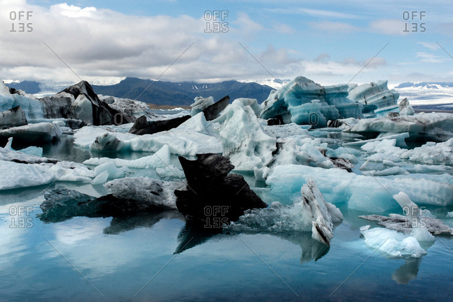 Jokulsarlon Lagoon, Iceland - August 3, 2017: The beautiful glacial lake in Jokulsarlon Lagoon.