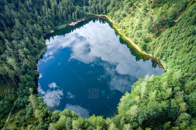 Lake Eibensee, Austria - August 23, 2017. Aerial view at lake Eibensee, a beautiful small mountain lake in the Austrian Alps near Salzburg.