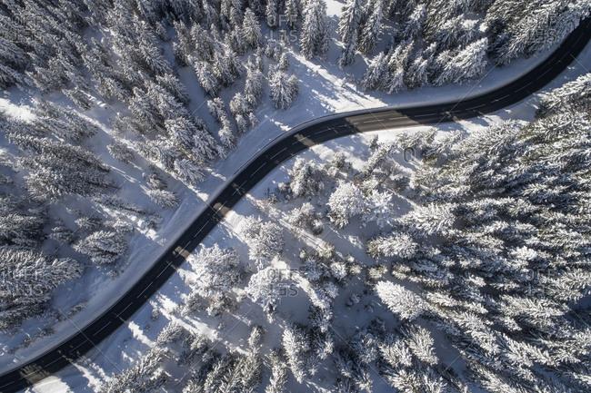 Hochkonig, Austria - January 19, 2017. Overlooking a mountain road and the alpine landscape near the Hochkonig mountain.