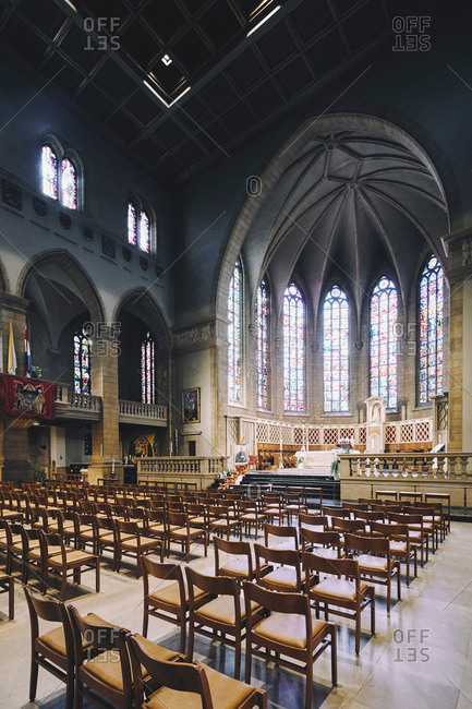 Luxembourg, Europe - August 14, 2017: Notre Dame cathedral altar