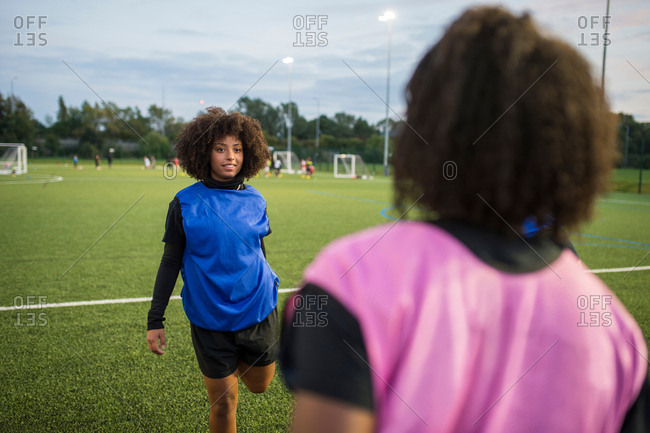 Women's football team practice, Hackney, East London, UK