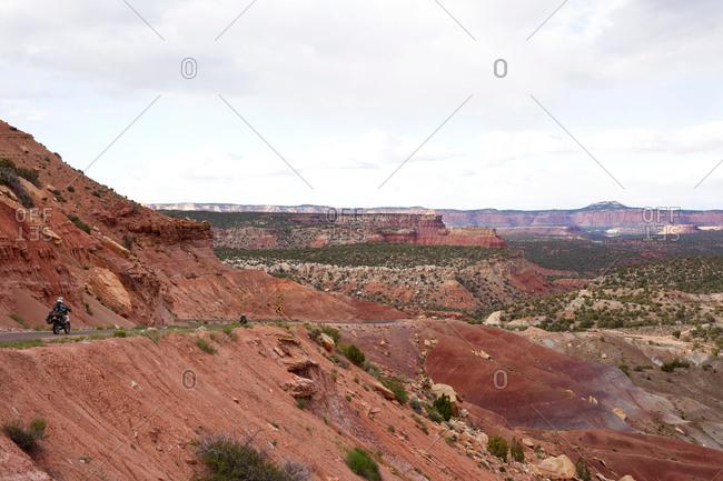 Burr Trail Road through landscape in Grand-Escalante National Monument, Utah, USA