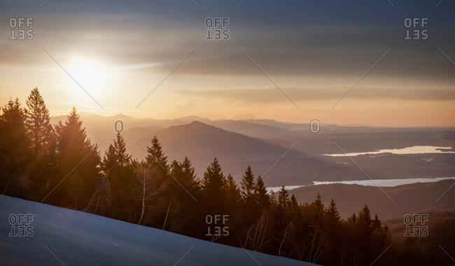 Winter sunrise over Lake Maggiore, Stresa, Piemonte, Italy, Europe