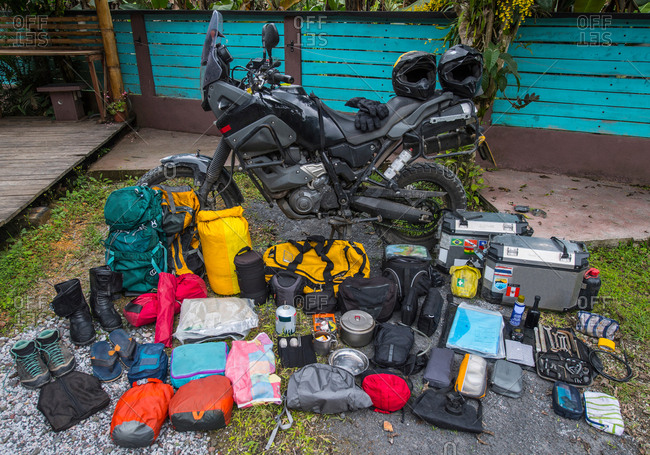 Adventure motorbike with travel gear, Medellin, Antioquia, Colombia