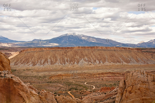 Burr Trail Road through canyon in Grand-Escalante National Monument, Utah, USA