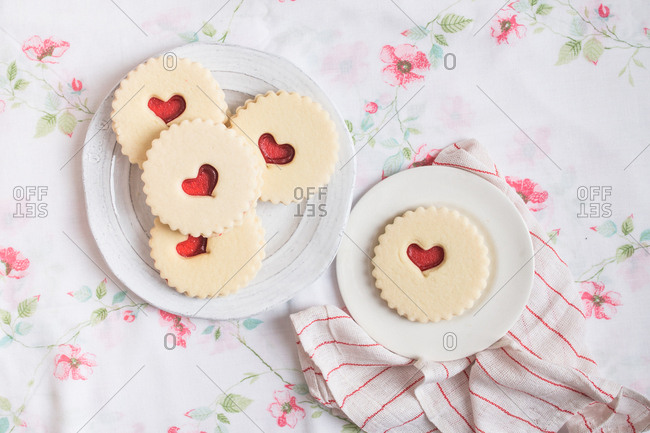 Plates of Valentine's Day cookies with heart shaped design