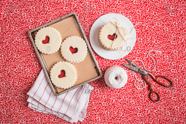 Valentine's Day cookies wrapped in string