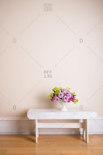 Floral arrangement displayed on table