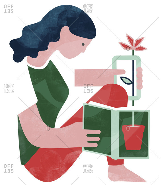 Illustration of woman picking flower from a book