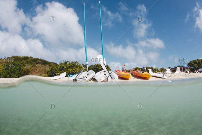 Colorful sail boats on a Prickly Pear beach, British Virgin Islands