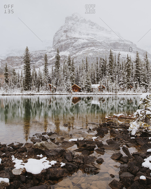 Cabins beside lake in Yoho National Park, British Columbia, Canada