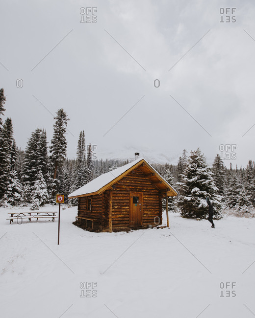Log cabin in Yoho National Park, British Columbia, Canada