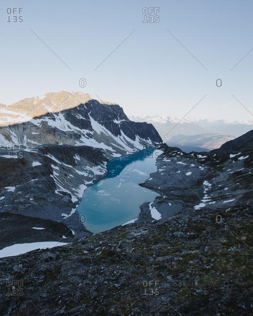 Blue mountainside lake in Whistler, British Columbia, Canada