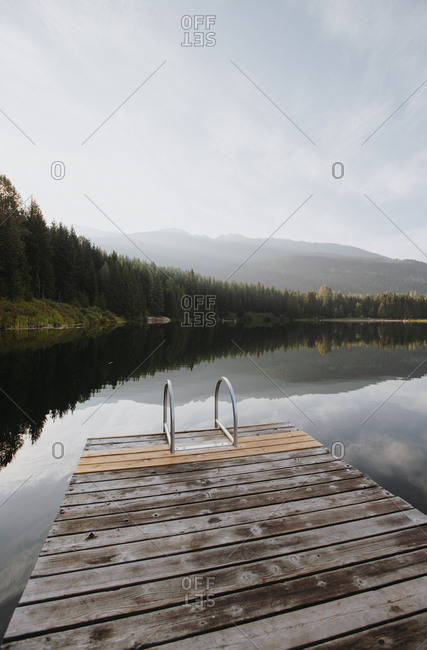 Wooden dock on a lake in Whistler, British Columbia, Canada