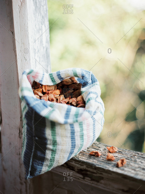 Bag filled with dried fruit on wooden fence