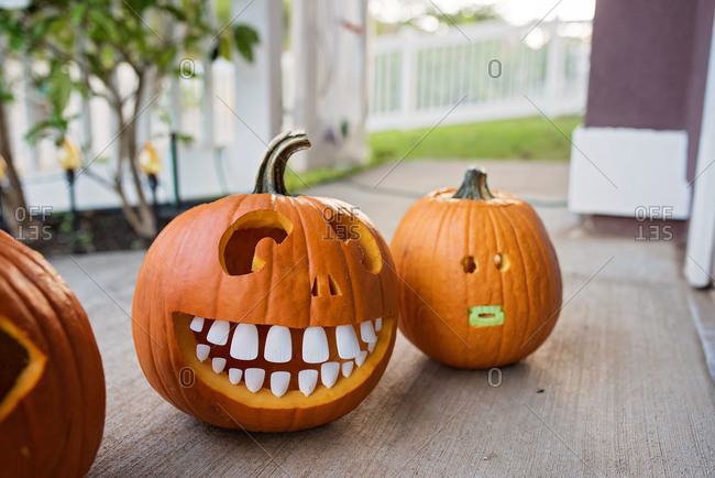 Carved Halloween pumpkins with teeth